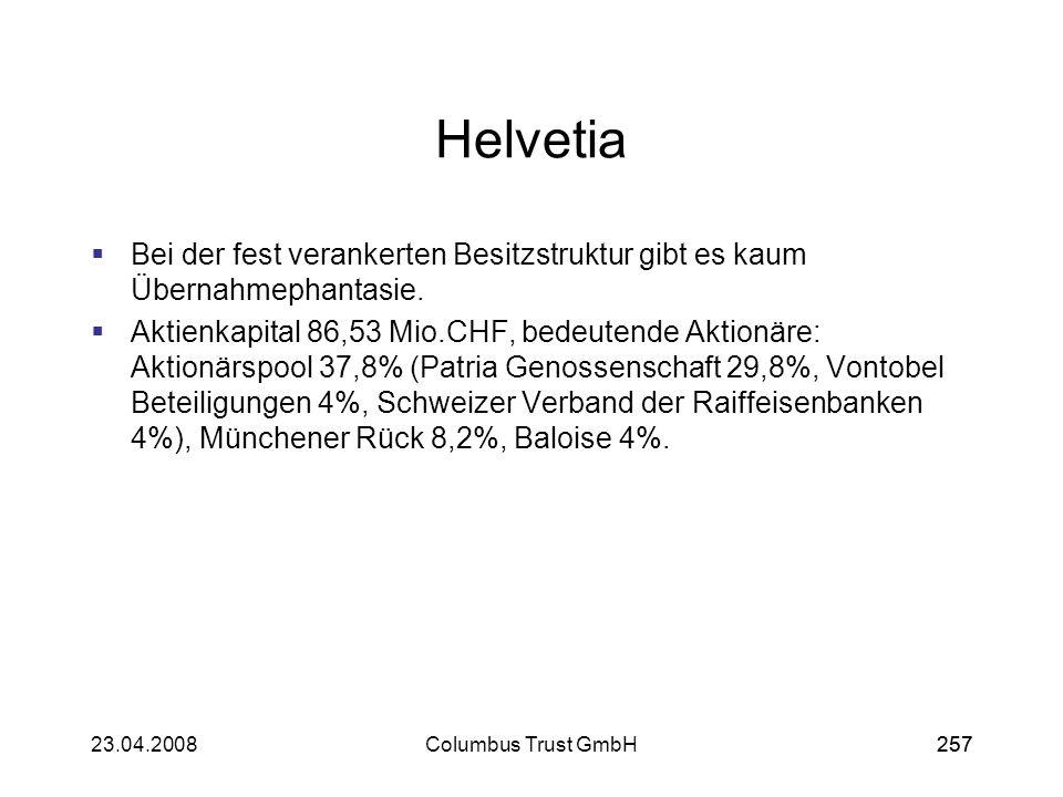 25723.04.2008Columbus Trust GmbH257 Helvetia Bei der fest verankerten Besitzstruktur gibt es kaum Übernahmephantasie. Aktienkapital 86,53 Mio.CHF, bed