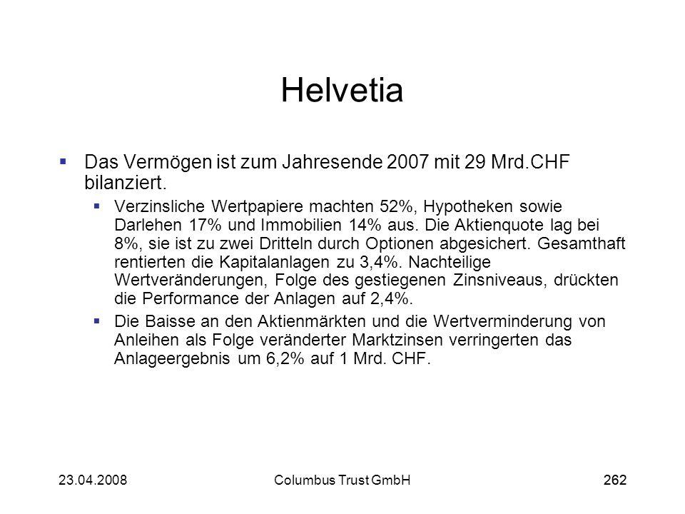 26223.04.2008Columbus Trust GmbH262 Helvetia Das Vermögen ist zum Jahresende 2007 mit 29 Mrd.CHF bilanziert. Verzinsliche Wertpapiere machten 52%, Hyp