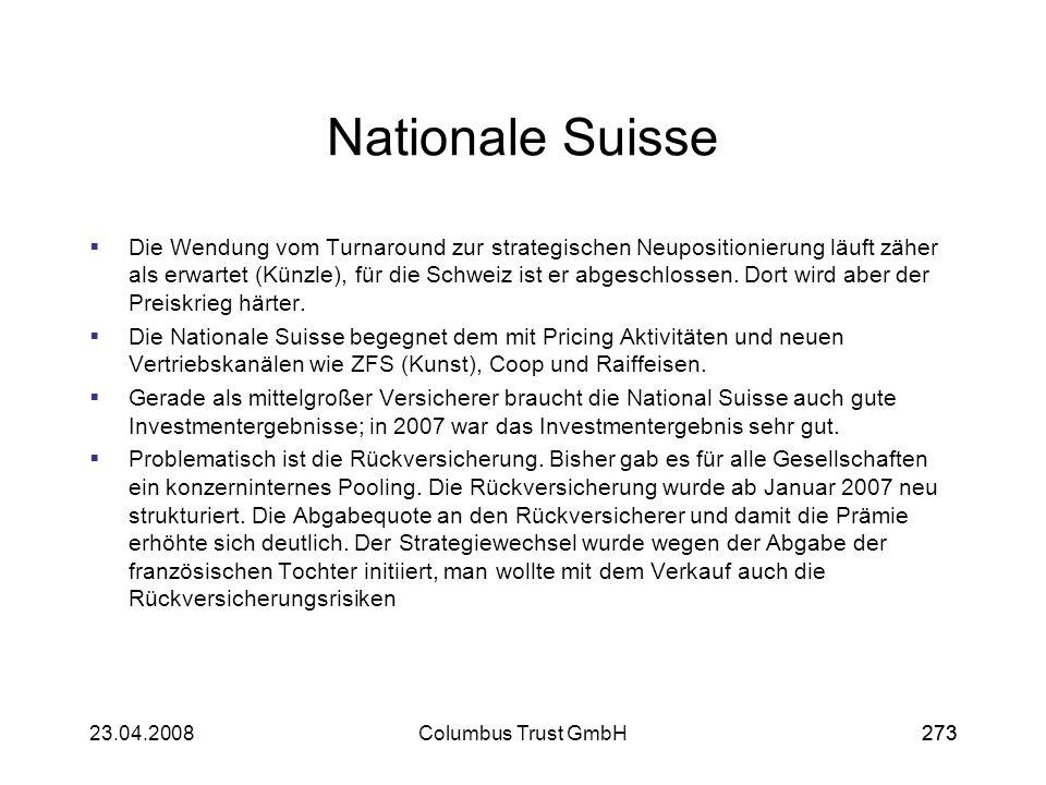 27323.04.2008Columbus Trust GmbH273 Nationale Suisse Die Wendung vom Turnaround zur strategischen Neupositionierung läuft zäher als erwartet (Künzle),