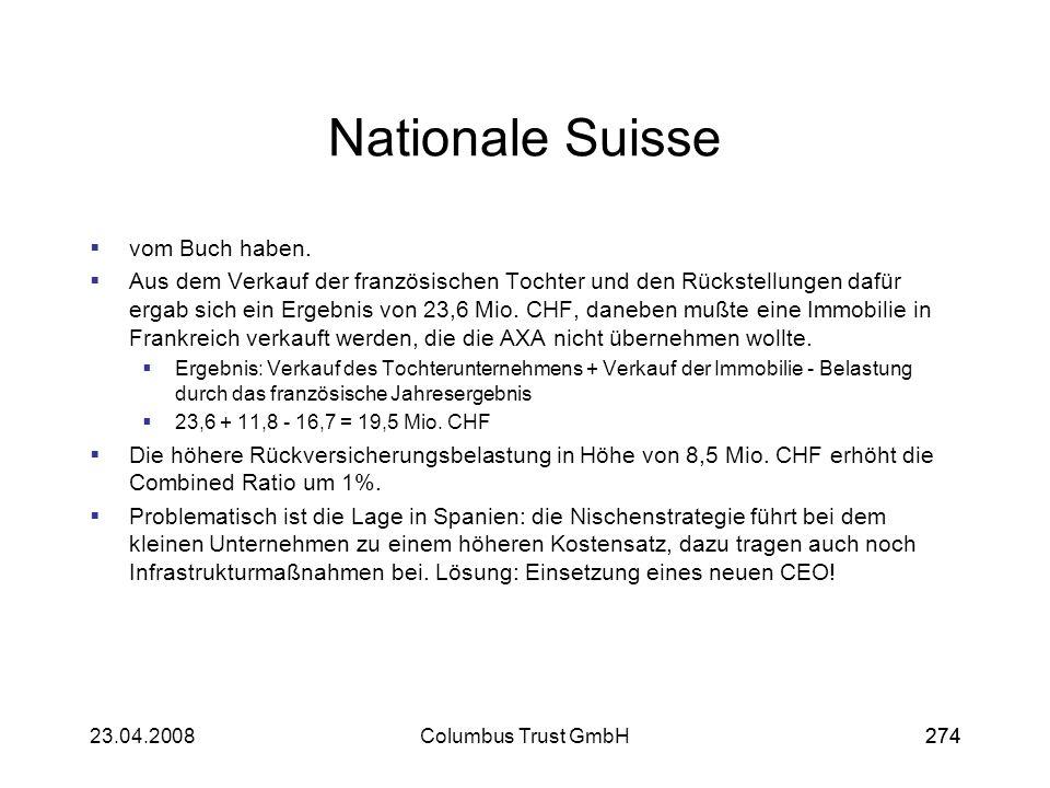 27423.04.2008Columbus Trust GmbH274 Nationale Suisse vom Buch haben. Aus dem Verkauf der französischen Tochter und den Rückstellungen dafür ergab sich
