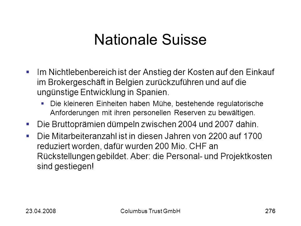 27623.04.2008Columbus Trust GmbH276 Nationale Suisse Im Nichtlebenbereich ist der Anstieg der Kosten auf den Einkauf im Brokergeschäft in Belgien zurü