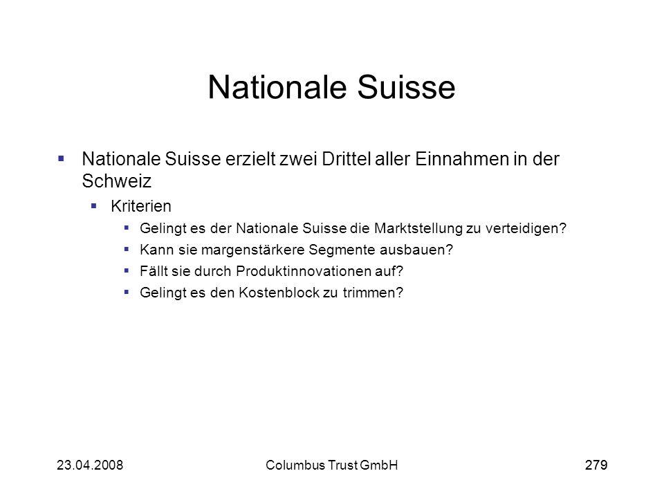 27923.04.2008Columbus Trust GmbH279 Nationale Suisse Nationale Suisse erzielt zwei Drittel aller Einnahmen in der Schweiz Kriterien Gelingt es der Nat