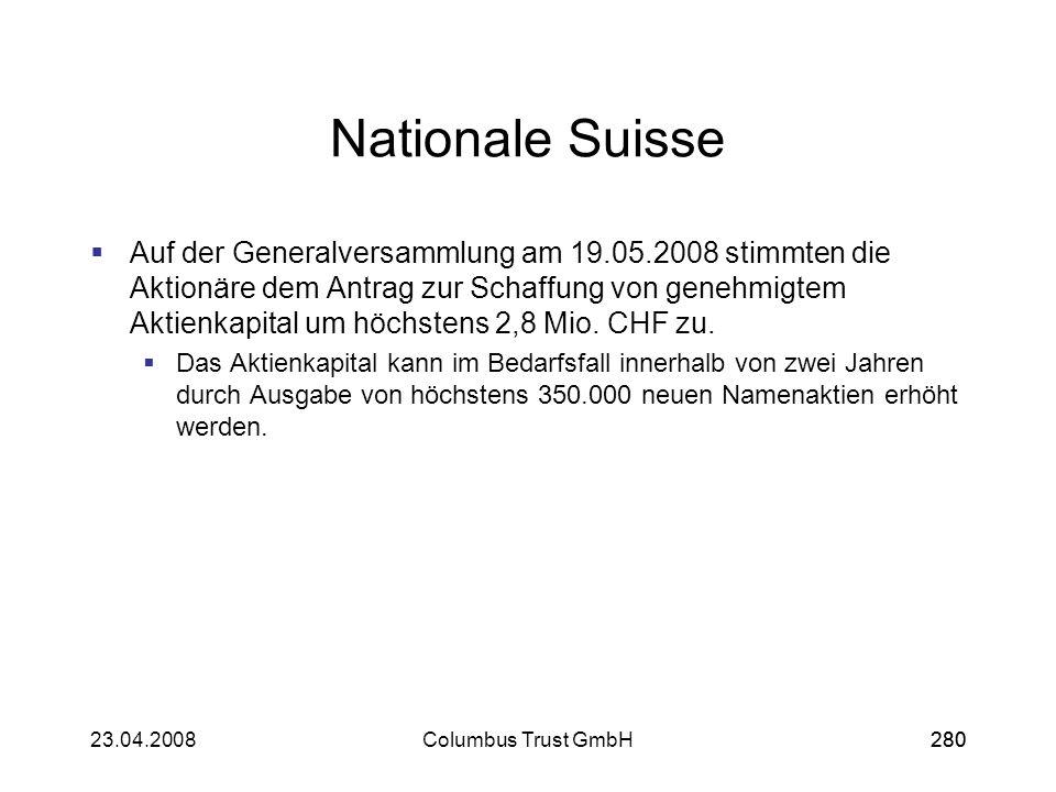 28023.04.2008Columbus Trust GmbH280 Nationale Suisse Auf der Generalversammlung am 19.05.2008 stimmten die Aktionäre dem Antrag zur Schaffung von gene