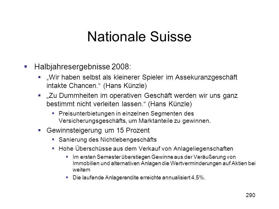 290 Nationale Suisse Halbjahresergebnisse 2008: Wir haben selbst als kleinerer Spieler im Assekuranzgeschäft intakte Chancen. (Hans Künzle) Zu Dummhei