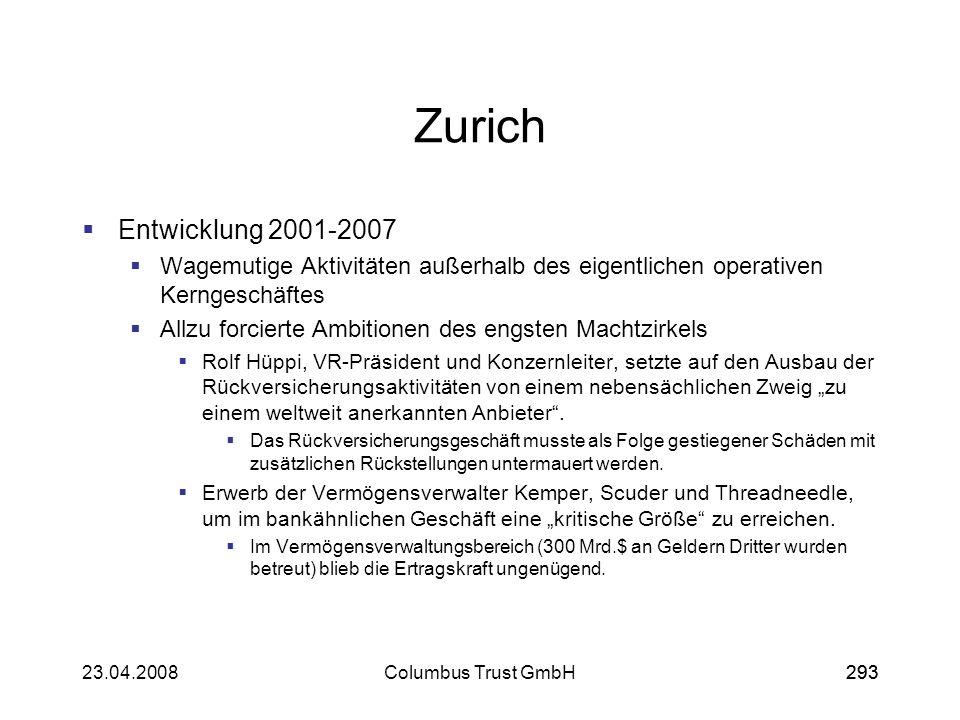 29323.04.2008Columbus Trust GmbH293 Zurich Entwicklung 2001-2007 Wagemutige Aktivitäten außerhalb des eigentlichen operativen Kerngeschäftes Allzu for