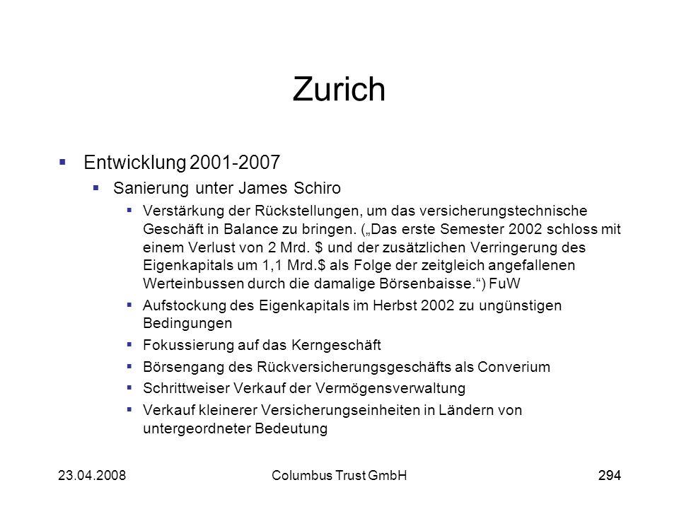 29423.04.2008Columbus Trust GmbH294 Zurich Entwicklung 2001-2007 Sanierung unter James Schiro Verstärkung der Rückstellungen, um das versicherungstech