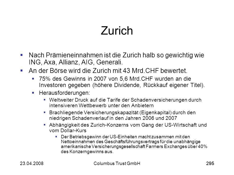 29523.04.2008Columbus Trust GmbH295 Zurich Nach Prämieneinnahmen ist die Zurich halb so gewichtig wie ING, Axa, Allianz, AIG, Generali. An der Börse w