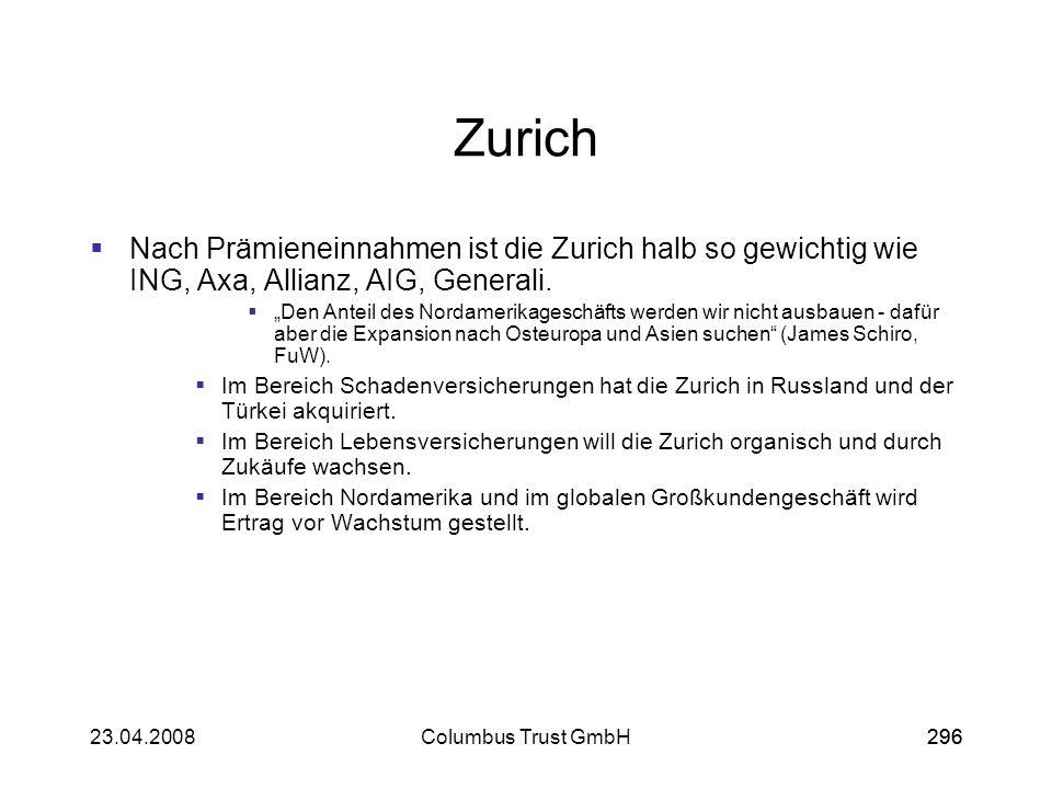 29623.04.2008Columbus Trust GmbH296 Zurich Nach Prämieneinnahmen ist die Zurich halb so gewichtig wie ING, Axa, Allianz, AIG, Generali. Den Anteil des