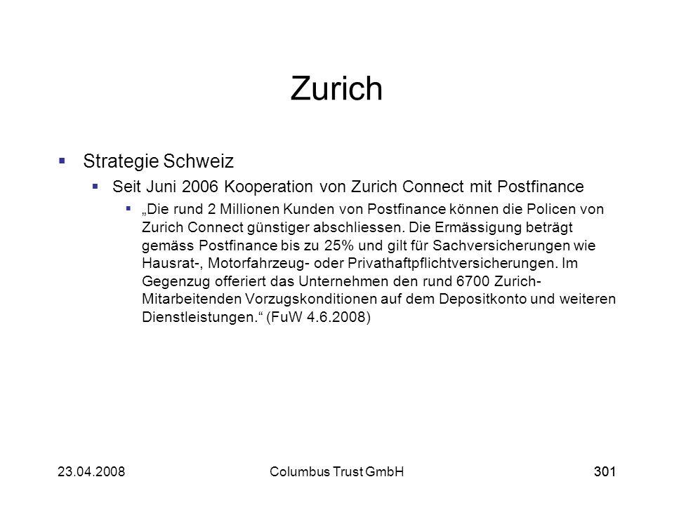 30123.04.2008Columbus Trust GmbH301 Zurich Strategie Schweiz Seit Juni 2006 Kooperation von Zurich Connect mit Postfinance Die rund 2 Millionen Kunden