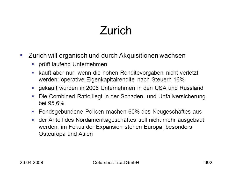 30223.04.2008Columbus Trust GmbH302 Zurich Zurich will organisch und durch Akquisitionen wachsen prüft laufend Unternehmen kauft aber nur, wenn die ho