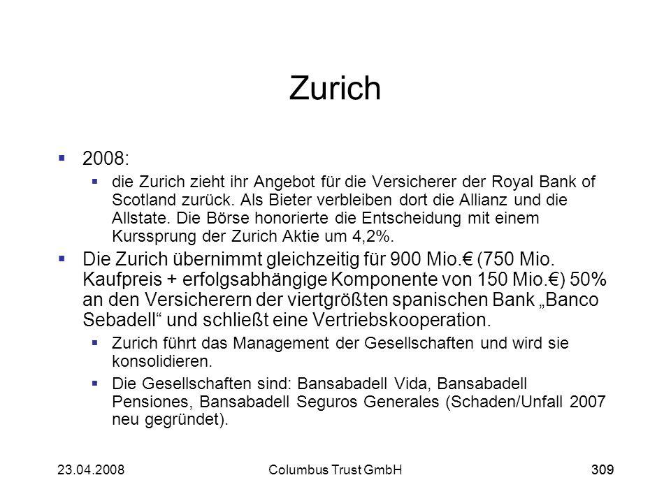 30923.04.2008Columbus Trust GmbH309 Zurich 2008: die Zurich zieht ihr Angebot für die Versicherer der Royal Bank of Scotland zurück. Als Bieter verble