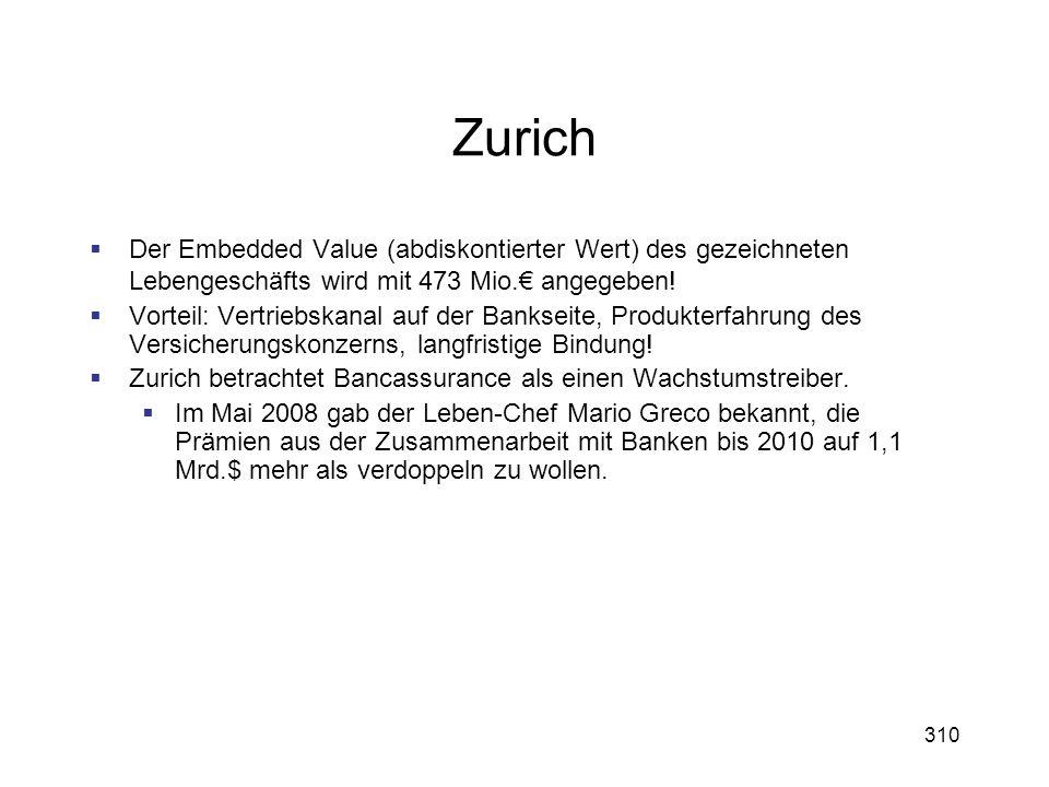 310 Zurich Der Embedded Value (abdiskontierter Wert) des gezeichneten Lebengeschäfts wird mit 473 Mio. angegeben! Vorteil: Vertriebskanal auf der Bank