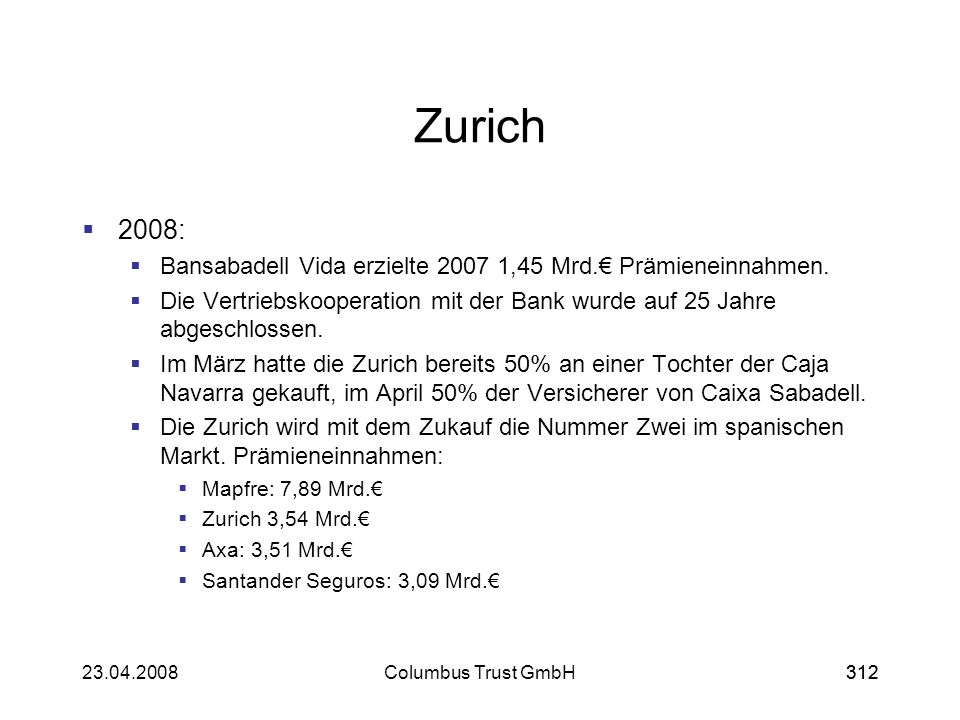 31223.04.2008Columbus Trust GmbH312 Zurich 2008: Bansabadell Vida erzielte 2007 1,45 Mrd. Prämieneinnahmen. Die Vertriebskooperation mit der Bank wurd