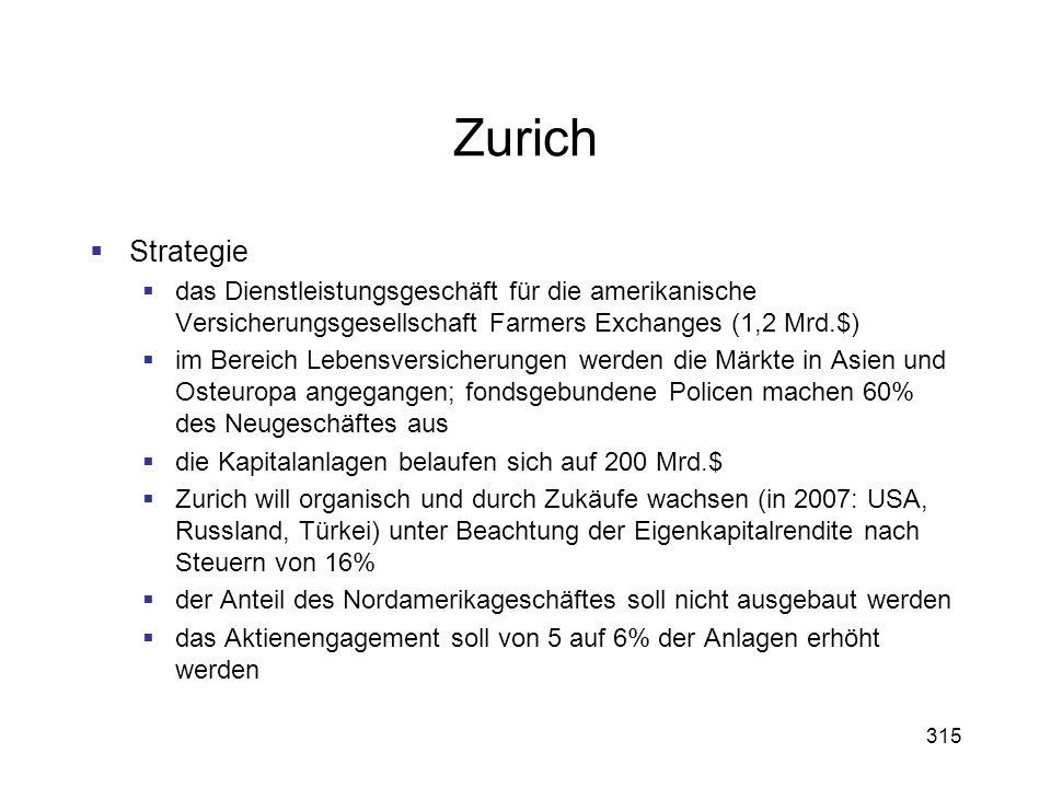 315 Zurich Strategie das Dienstleistungsgeschäft für die amerikanische Versicherungsgesellschaft Farmers Exchanges (1,2 Mrd.$) im Bereich Lebensversic