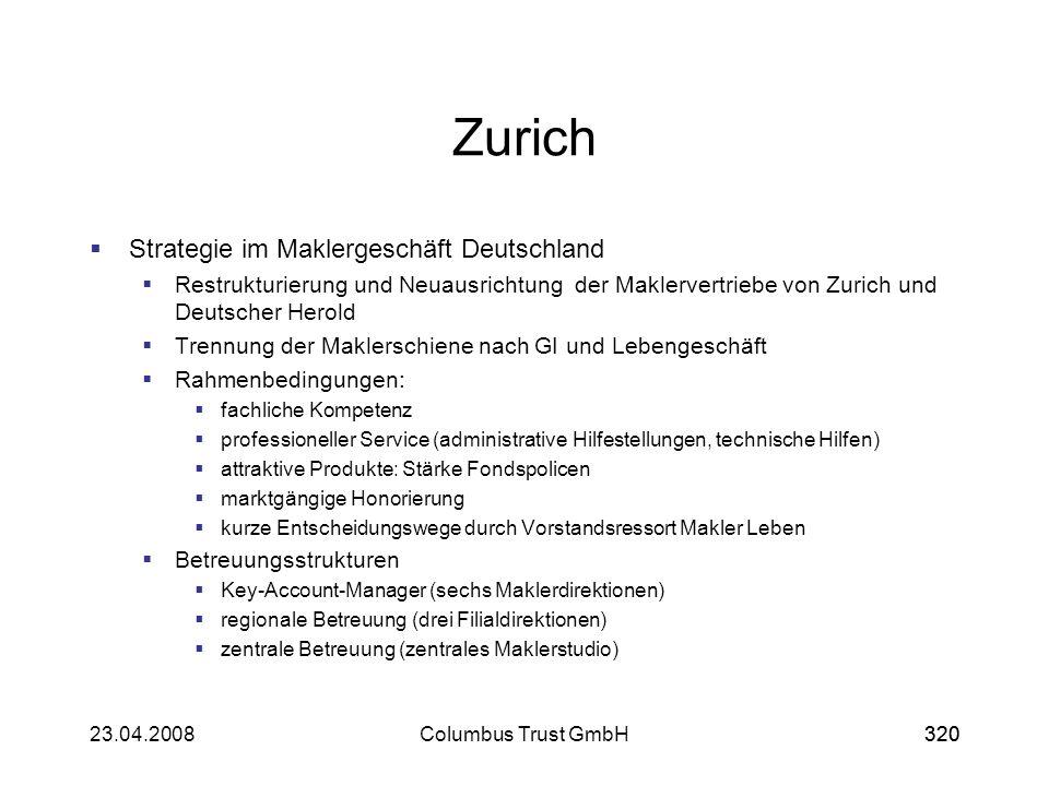32023.04.2008Columbus Trust GmbH320 Zurich Strategie im Maklergeschäft Deutschland Restrukturierung und Neuausrichtung der Maklervertriebe von Zurich