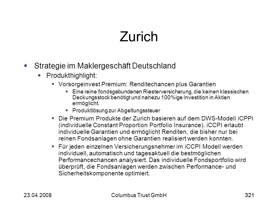 32123.04.2008Columbus Trust GmbH321 Zurich Strategie im Maklergeschäft Deutschland Produkthighlight: Vorsorgeinvest Premium: Renditechancen plus Garan