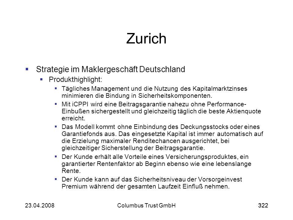 32223.04.2008Columbus Trust GmbH322 Zurich Strategie im Maklergeschäft Deutschland Produkthighlight: Tägliches Management und die Nutzung des Kapitalm