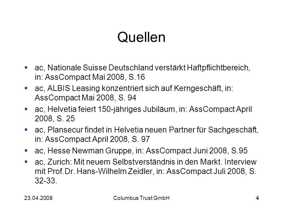 20523.04.2008Columbus Trust GmbH205 Swiss Life 2008 Interview mit Manfred Behrens, CEO Swiss Life Deutschland: Wie Sie selbst sagen, geht es Swiss Life bei der Übernahme um Wachstum, könnte die Übernahme des AWD hier nicht vielleicht sogar eine gegenteilige Wirkung haben.