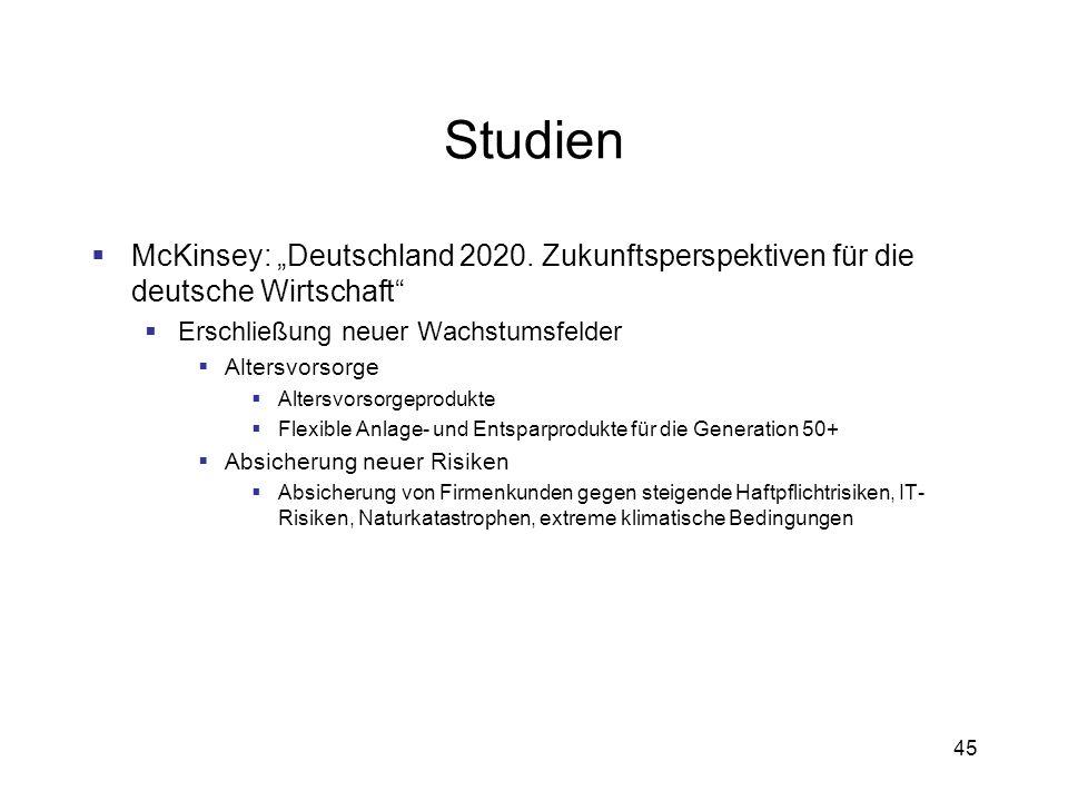 45 Studien McKinsey: Deutschland 2020. Zukunftsperspektiven für die deutsche Wirtschaft Erschließung neuer Wachstumsfelder Altersvorsorge Altersvorsor