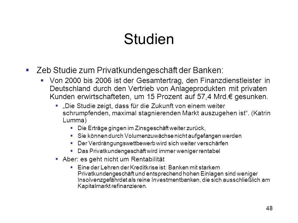 48 Studien Zeb Studie zum Privatkundengeschäft der Banken: Von 2000 bis 2006 ist der Gesamtertrag, den Finanzdienstleister in Deutschland durch den Ve