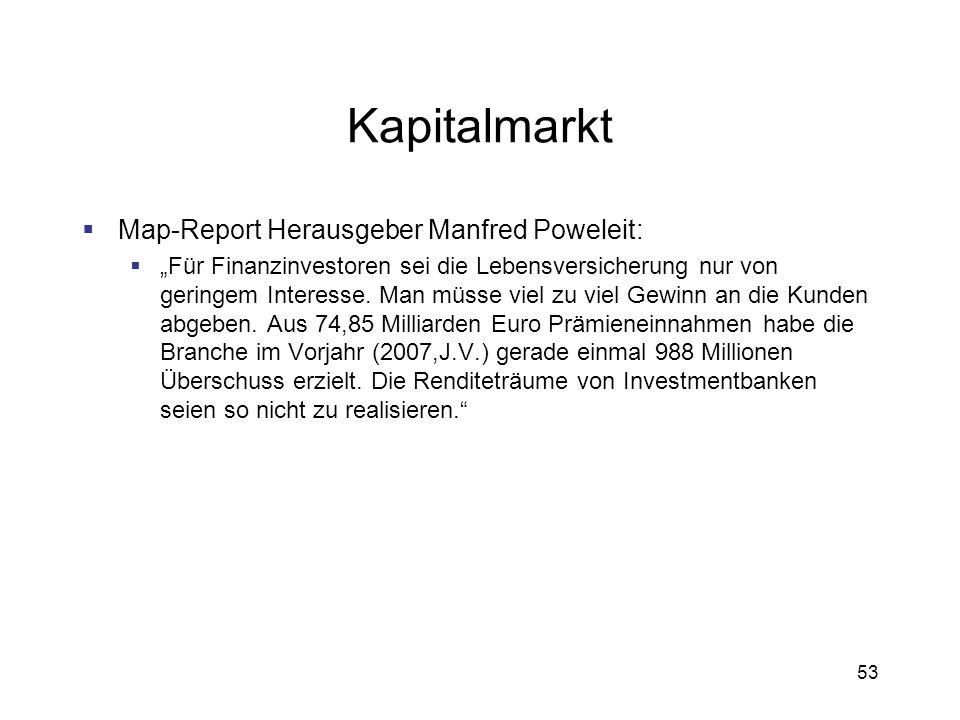 53 Kapitalmarkt Map-Report Herausgeber Manfred Poweleit: Für Finanzinvestoren sei die Lebensversicherung nur von geringem Interesse. Man müsse viel zu