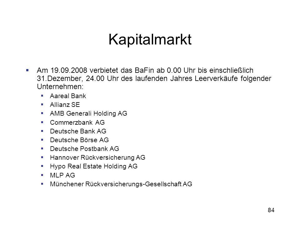 84 Kapitalmarkt Am 19.09.2008 verbietet das BaFin ab 0.00 Uhr bis einschließlich 31.Dezember, 24.00 Uhr des laufenden Jahres Leerverkäufe folgender Un