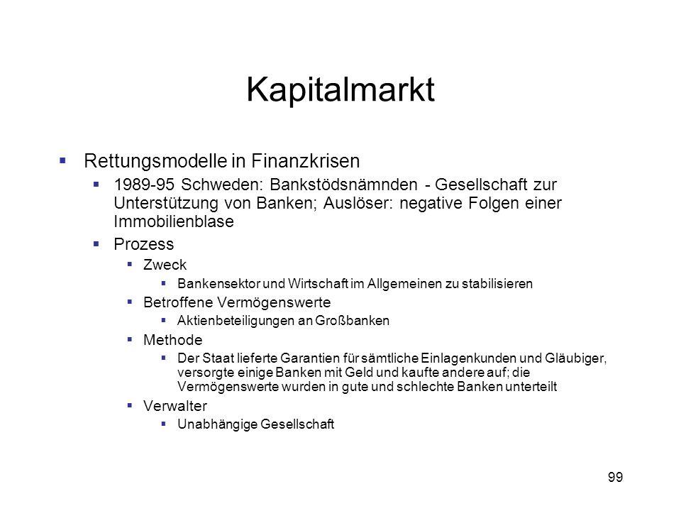 99 Kapitalmarkt Rettungsmodelle in Finanzkrisen 1989-95 Schweden: Bankstödsnämnden - Gesellschaft zur Unterstützung von Banken; Auslöser: negative Fol