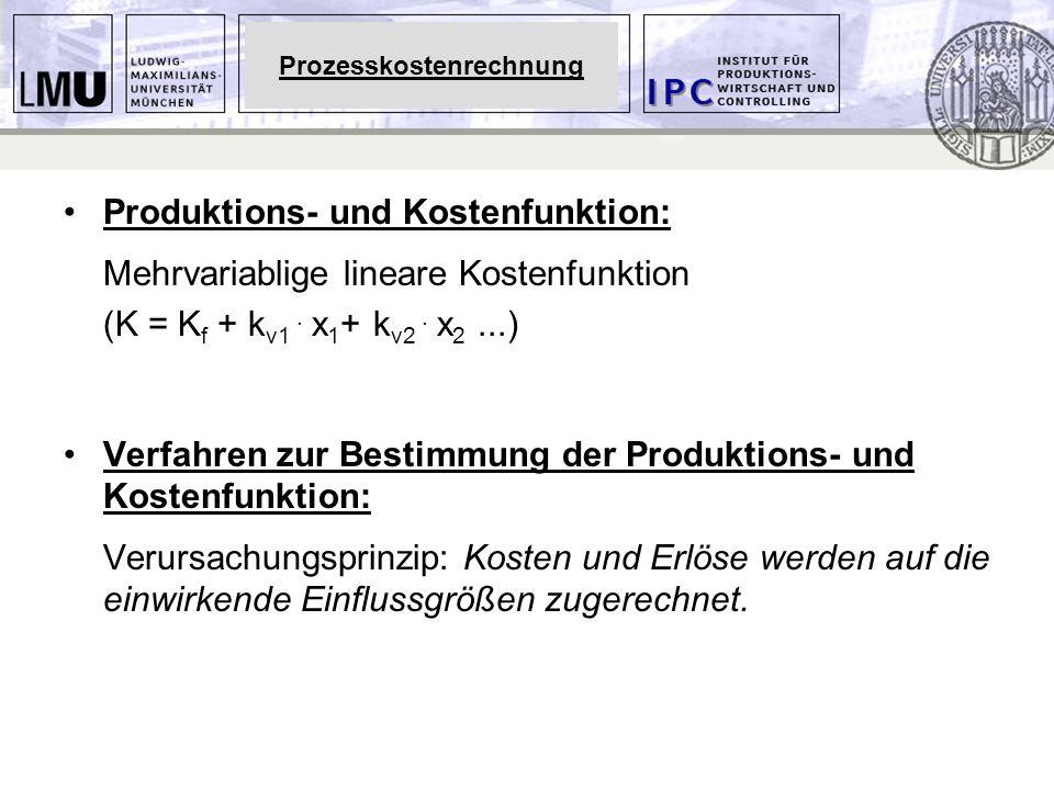 Produktions- und Kostenfunktion: Mehrvariablige lineare Kostenfunktion (K = K f + k v1. x 1 + k v2. x 2...) Verfahren zur Bestimmung der Produktions-