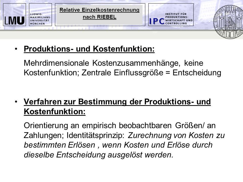 Produktions- und Kostenfunktion: Mehrdimensionale Kostenzusammenhänge, keine Kostenfunktion; Zentrale Einflussgröße = Entscheidung Verfahren zur Besti