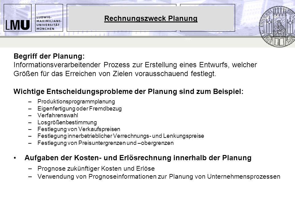 Begriff der Planung: Informationsverarbeitender Prozess zur Erstellung eines Entwurfs, welcher Größen für das Erreichen von Zielen vorausschauend fest