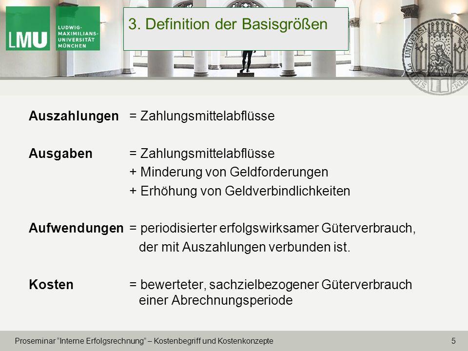 16 Proseminar Interne Erfolgsrechnung – Kostenbegriff und Kostenkonzepte 6.