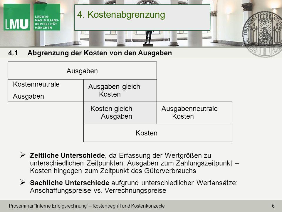 17 Proseminar Interne Erfolgsrechnung – Kostenbegriff und Kostenkonzepte 6.