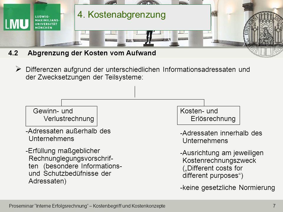 18 Proseminar Interne Erfolgsrechnung – Kostenbegriff und Kostenkonzepte 7.
