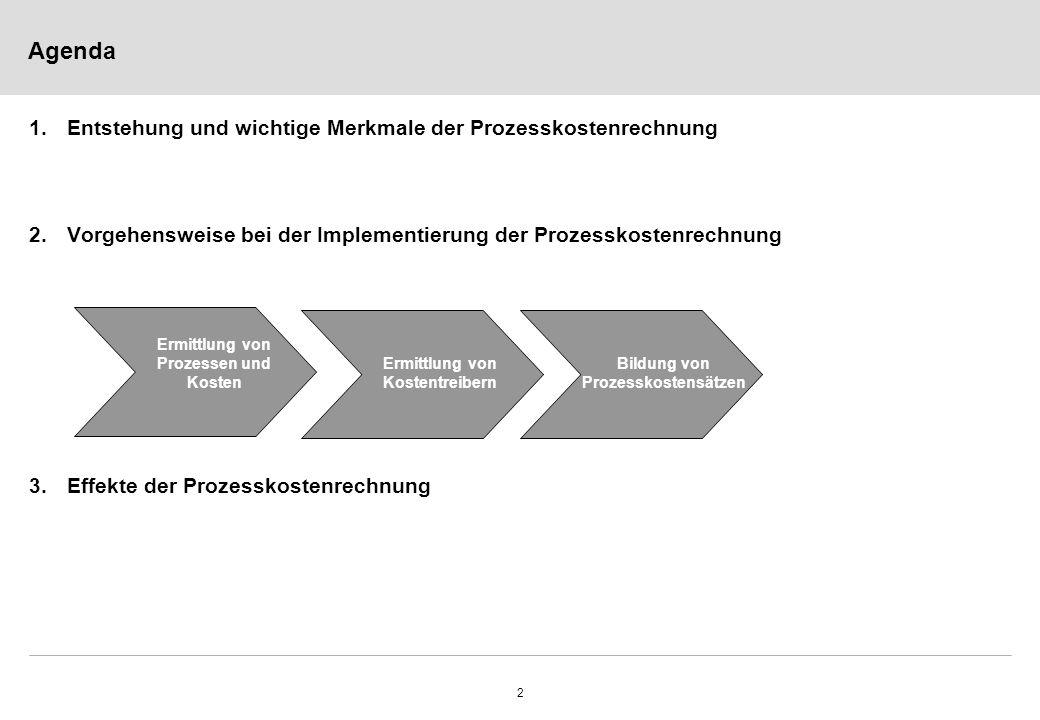 2 Agenda 1.Entstehung und wichtige Merkmale der Prozesskostenrechnung 2.Vorgehensweise bei der Implementierung der Prozesskostenrechnung 3.Effekte der Prozesskostenrechnung Ermittlung von Prozessen und Kosten Ermittlung von Kostentreibern Bildung von Prozesskostensätzen