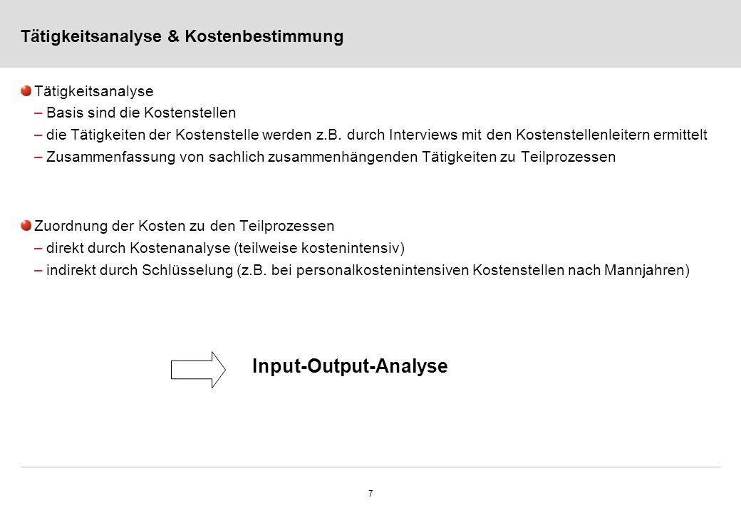 7 Tätigkeitsanalyse & Kostenbestimmung Tätigkeitsanalyse –Basis sind die Kostenstellen –die Tätigkeiten der Kostenstelle werden z.B. durch Interviews