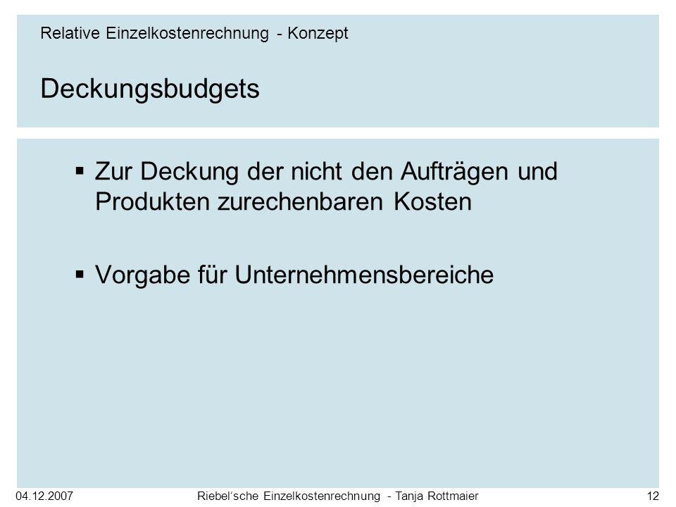 04.12.2007Riebelsche Einzelkostenrechnung - Tanja Rottmaier12 Deckungsbudgets Zur Deckung der nicht den Aufträgen und Produkten zurechenbaren Kosten V
