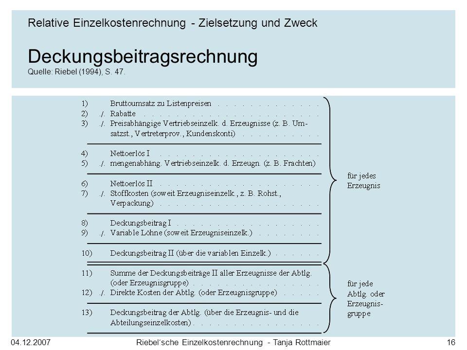 04.12.2007Riebelsche Einzelkostenrechnung - Tanja Rottmaier16 Deckungsbeitragsrechnung Quelle: Riebel (1994), S. 47. Relative Einzelkostenrechnung - Z