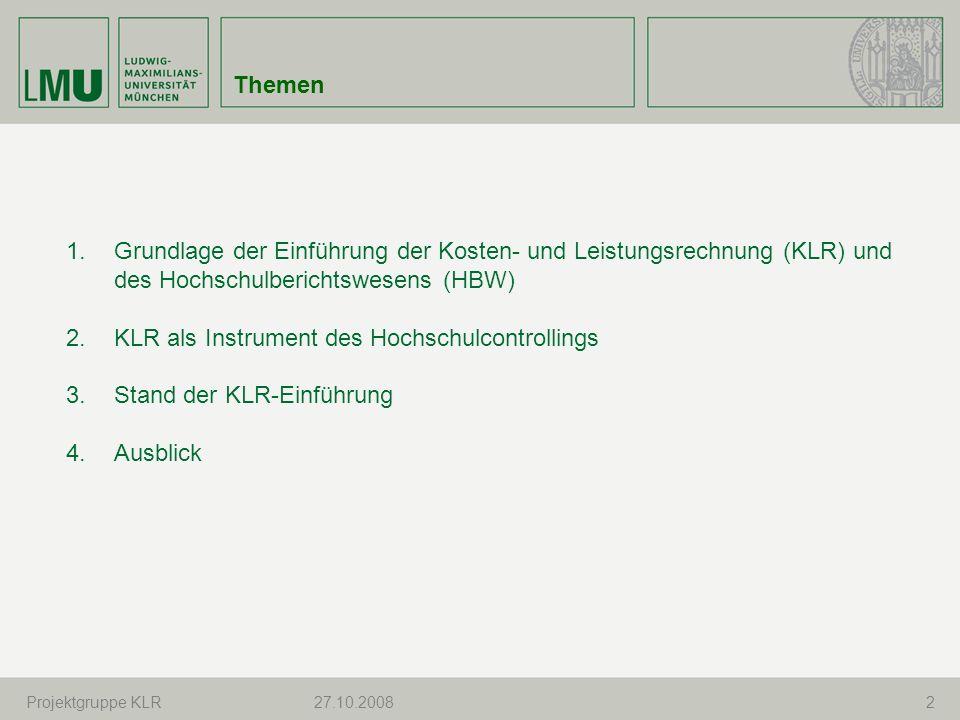 Marion Holzhauser S.Mezler, CuI27.10.200813 3.1. KLR-spezifische Stammdaten 3.2.