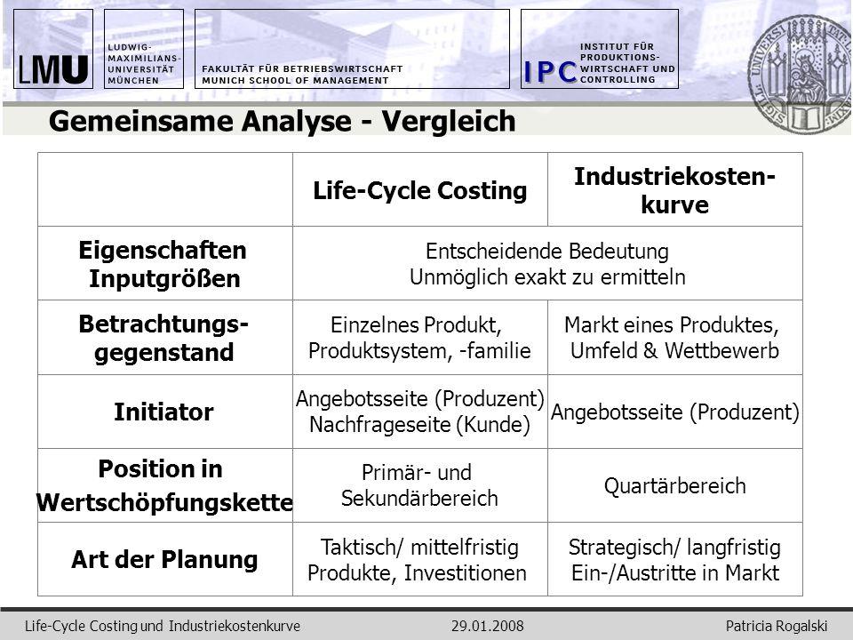 Patricia RogalskiLife-Cycle Costing und Industriekostenkurve29.01.2008 Gemeinsame Analyse - Vergleich Life-Cycle Costing Industriekosten- kurve Eigens