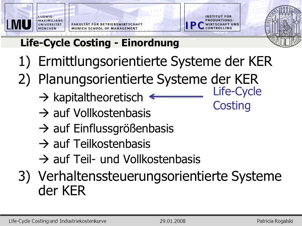 Patricia RogalskiLife-Cycle Costing und Industriekostenkurve29.01.2008 Life-Cycle Costing - Einordnung 1)Ermittlungsorientierte Systeme der KER 2)Plan