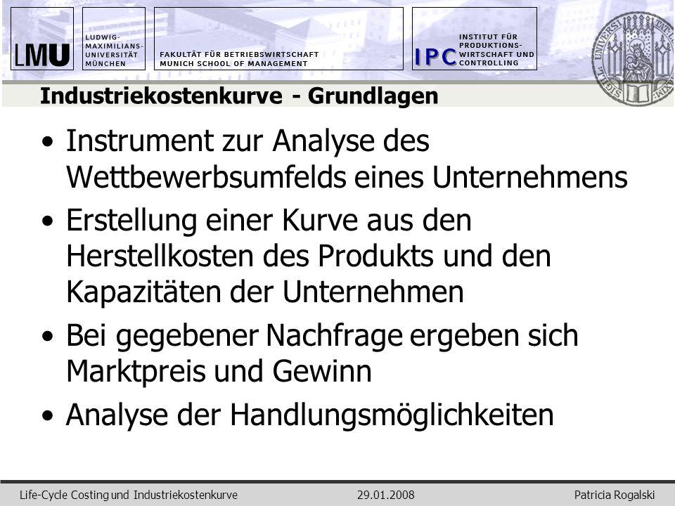 Patricia RogalskiLife-Cycle Costing und Industriekostenkurve29.01.2008 Industriekostenkurve - Grundlagen Instrument zur Analyse des Wettbewerbsumfelds