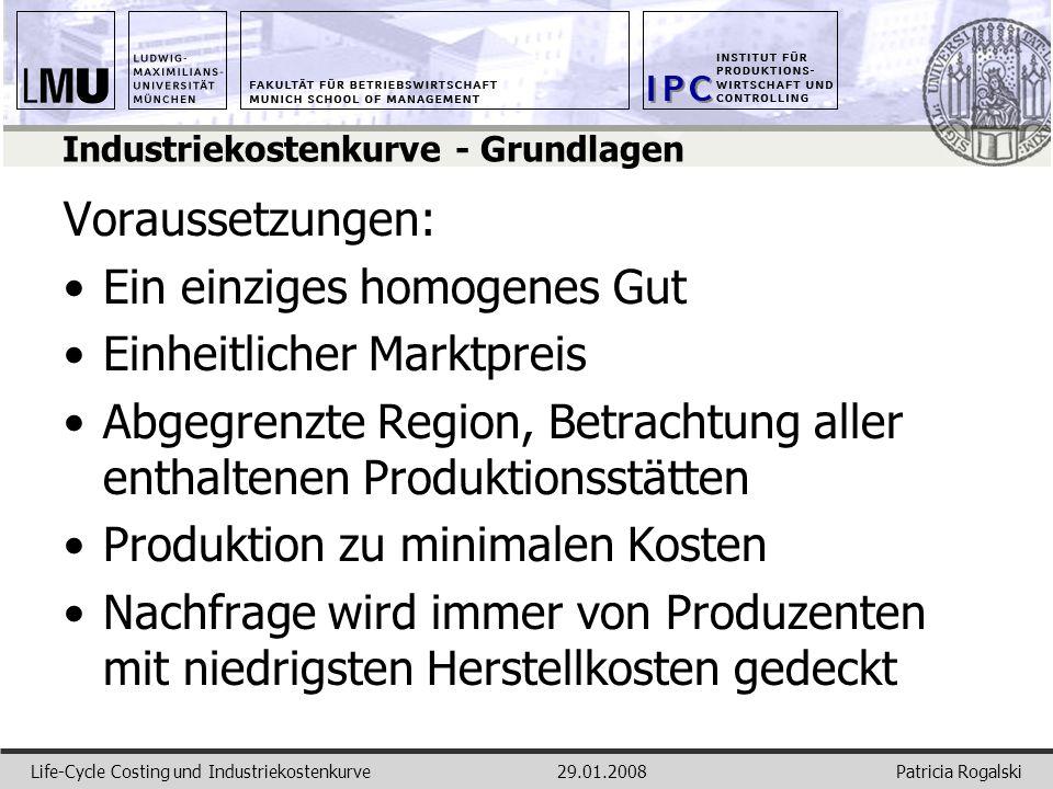 Patricia RogalskiLife-Cycle Costing und Industriekostenkurve29.01.2008 Industriekostenkurve - Grundlagen Voraussetzungen: Ein einziges homogenes Gut E