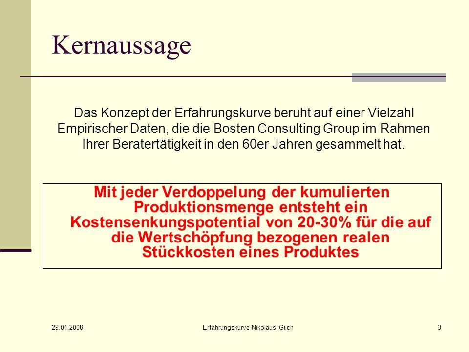 29.01.2008 Erfahrungskurve-Nikolaus Gilch4 Das Erfahrungskurvenkonzept Kostenbegriff Die in der Wertschöpfung enthaltenen realen Kosten => durchschn.