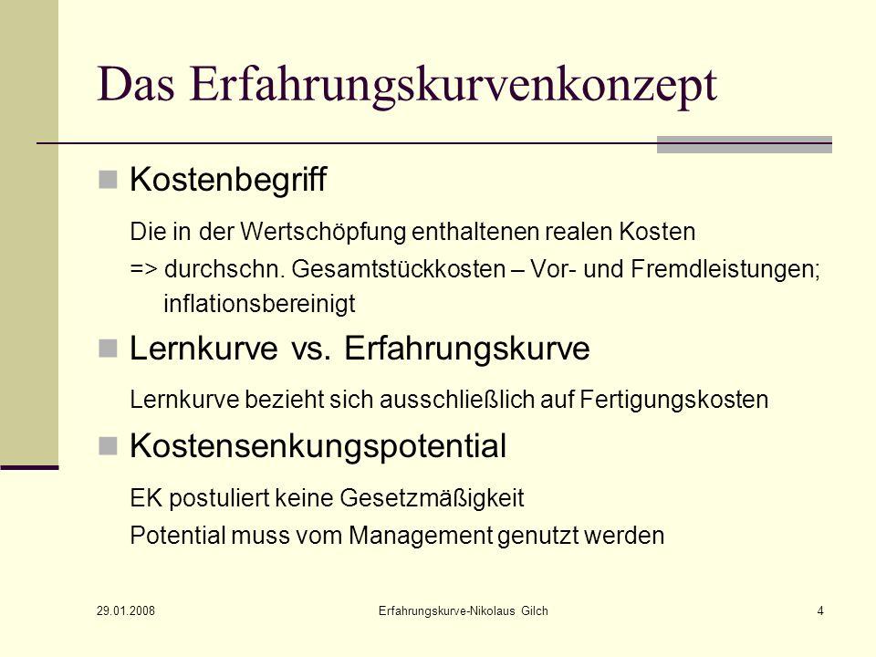29.01.2008 Erfahrungskurve-Nikolaus Gilch5 Idealtypische Erfahrungskurve (1)