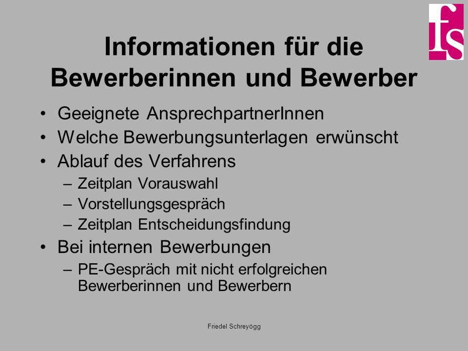Friedel Schreyögg Informationen für die Bewerberinnen und Bewerber Geeignete AnsprechpartnerInnen Welche Bewerbungsunterlagen erwünscht Ablauf des Ver