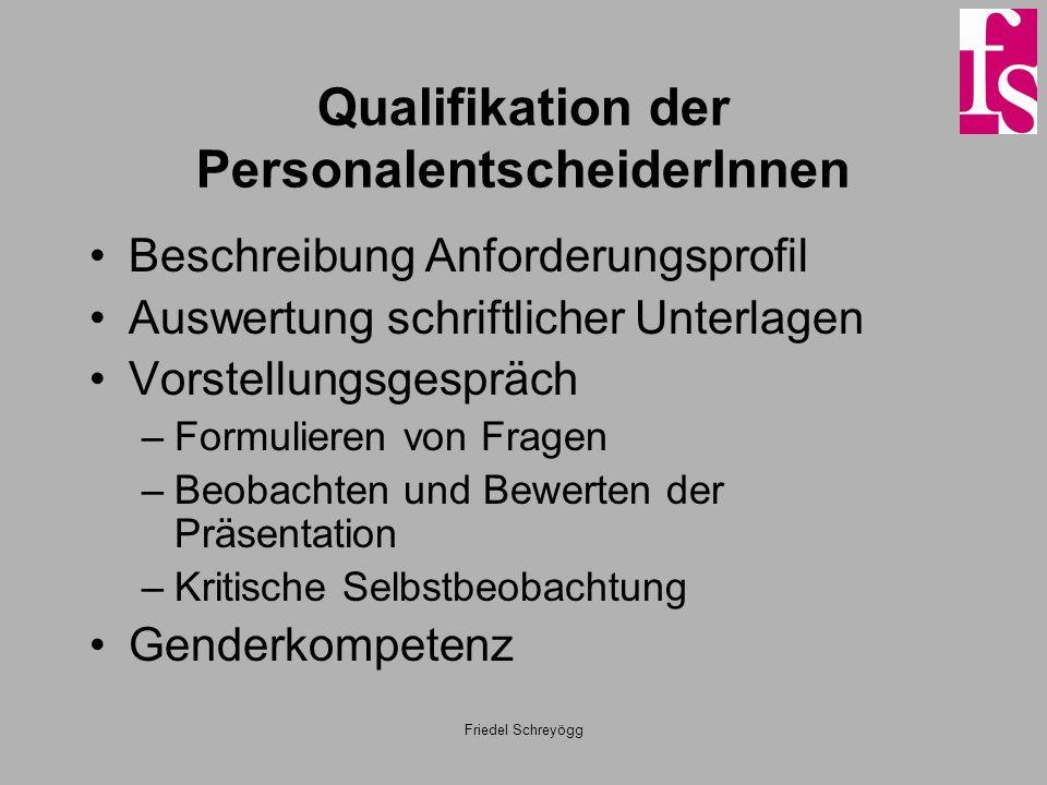 Friedel Schreyögg Qualifikation der PersonalentscheiderInnen Beschreibung Anforderungsprofil Auswertung schriftlicher Unterlagen Vorstellungsgespräch