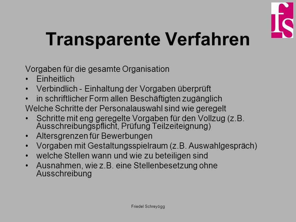 Friedel Schreyögg Transparente Verfahren Vorgaben für die gesamte Organisation Einheitlich Verbindlich - Einhaltung der Vorgaben überprüft in schriftl