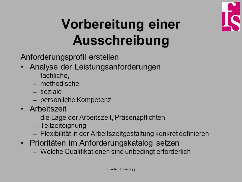 Friedel Schreyögg Vorbereitung einer Ausschreibung Anforderungsprofil erstellen Analyse der Leistungsanforderungen –fachliche, –methodische –soziale –