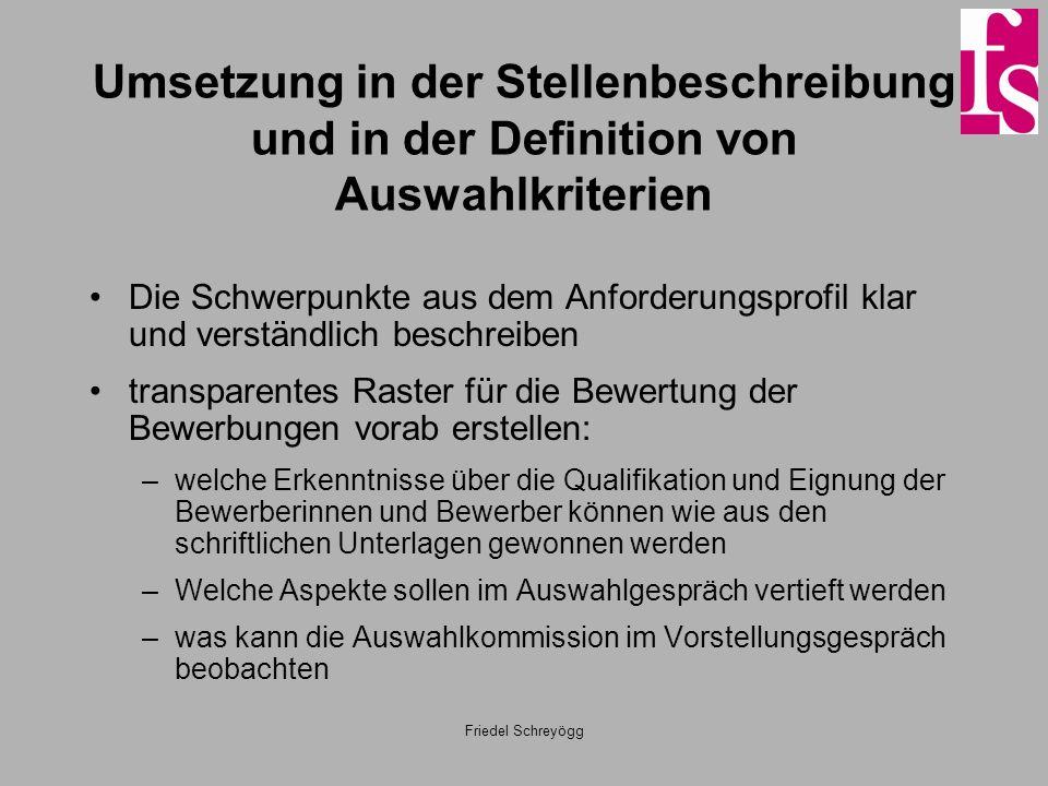Friedel Schreyögg Umsetzung in der Stellenbeschreibung und in der Definition von Auswahlkriterien Die Schwerpunkte aus dem Anforderungsprofil klar und
