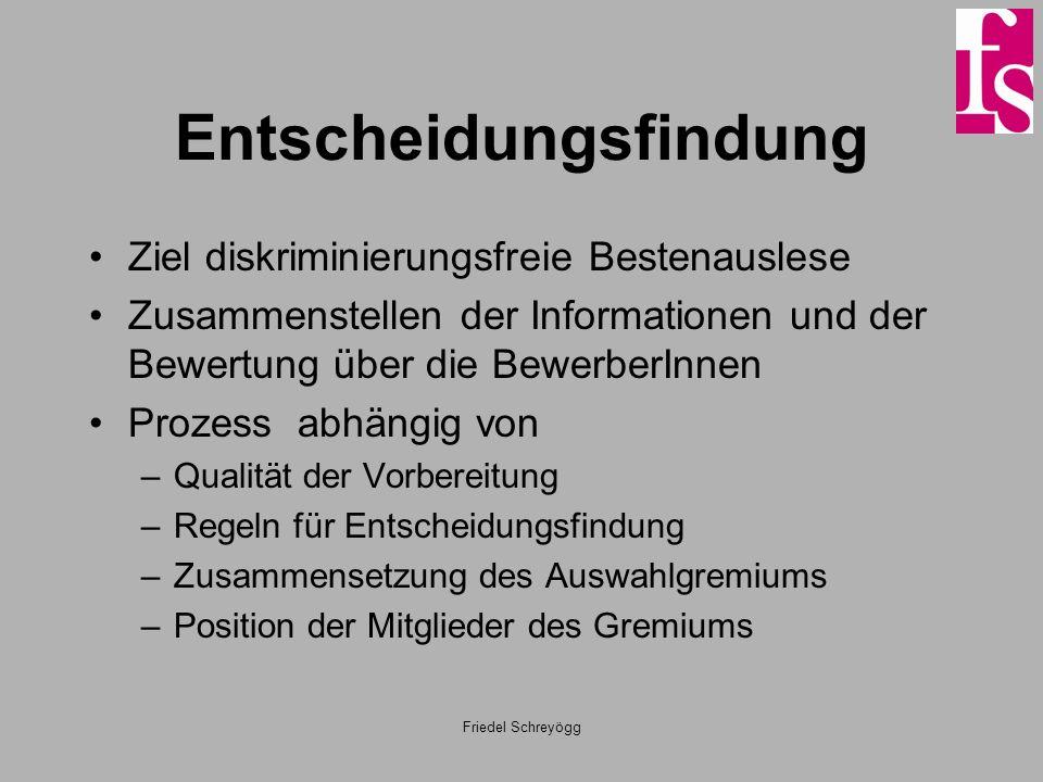Friedel Schreyögg Entscheidungsfindung Ziel diskriminierungsfreie Bestenauslese Zusammenstellen der Informationen und der Bewertung über die BewerberI